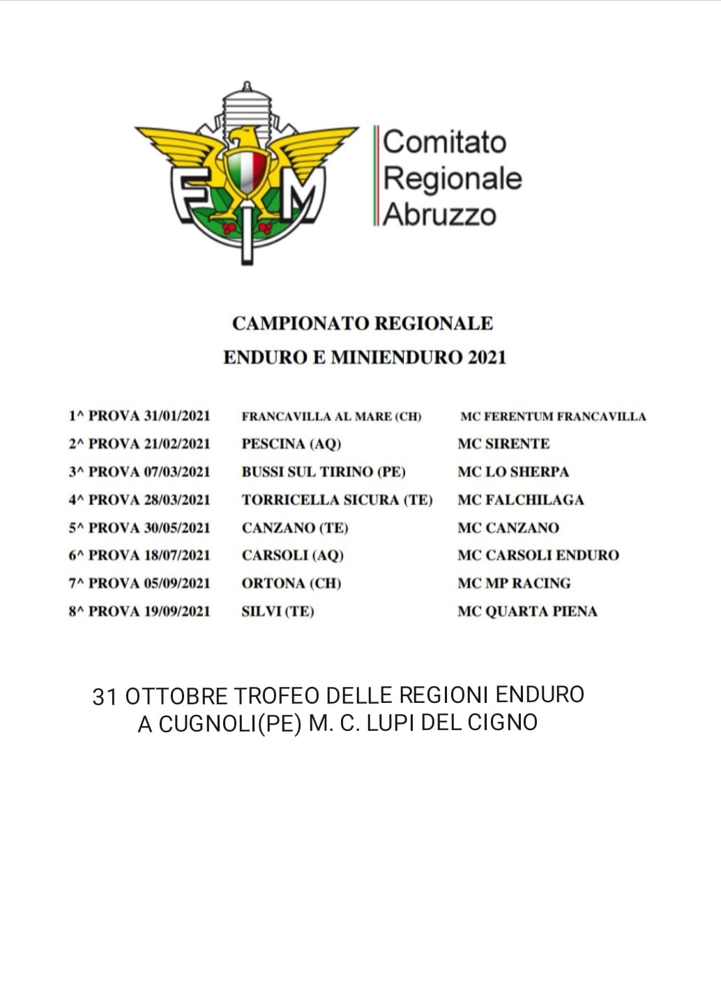 Calendario Enduro Regionale 2021 Calendario Campionato Regionale Enduro e Minienduro 2021 | Fmi
